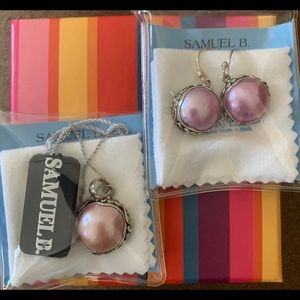 Samuel B. Pink Pearl Pendant and Drop Earrings.